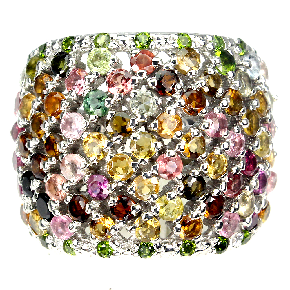 Unheated Round Tourmaline 2.5mm Chrome Diopside 925 Sterling Silver Ring Size 8