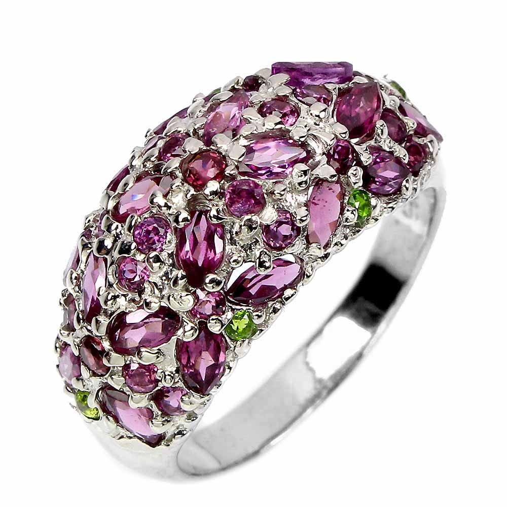 Unheated Marquise Rhodolite Garnet Chrome Diopside 925 Sterling Silver Ring Sz 8